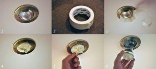 Как выкрутить лампочку в навесном потолке